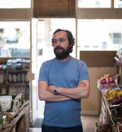 Tolga from the Harvest store in Hornsey, London - Food Waste in the UK - Photography by Chris King